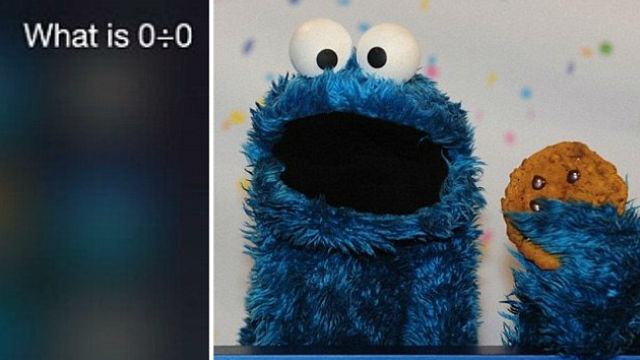 Cookie Monster Just Replied Siri on its 0 Divided By 0 Answer